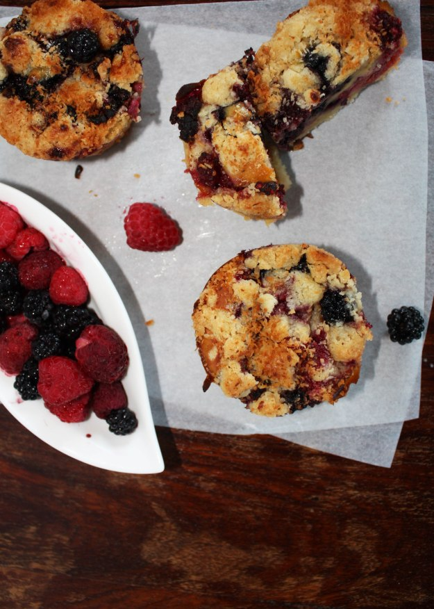 Raspberry-Blackberry Muffins  sprinkled with Coconut