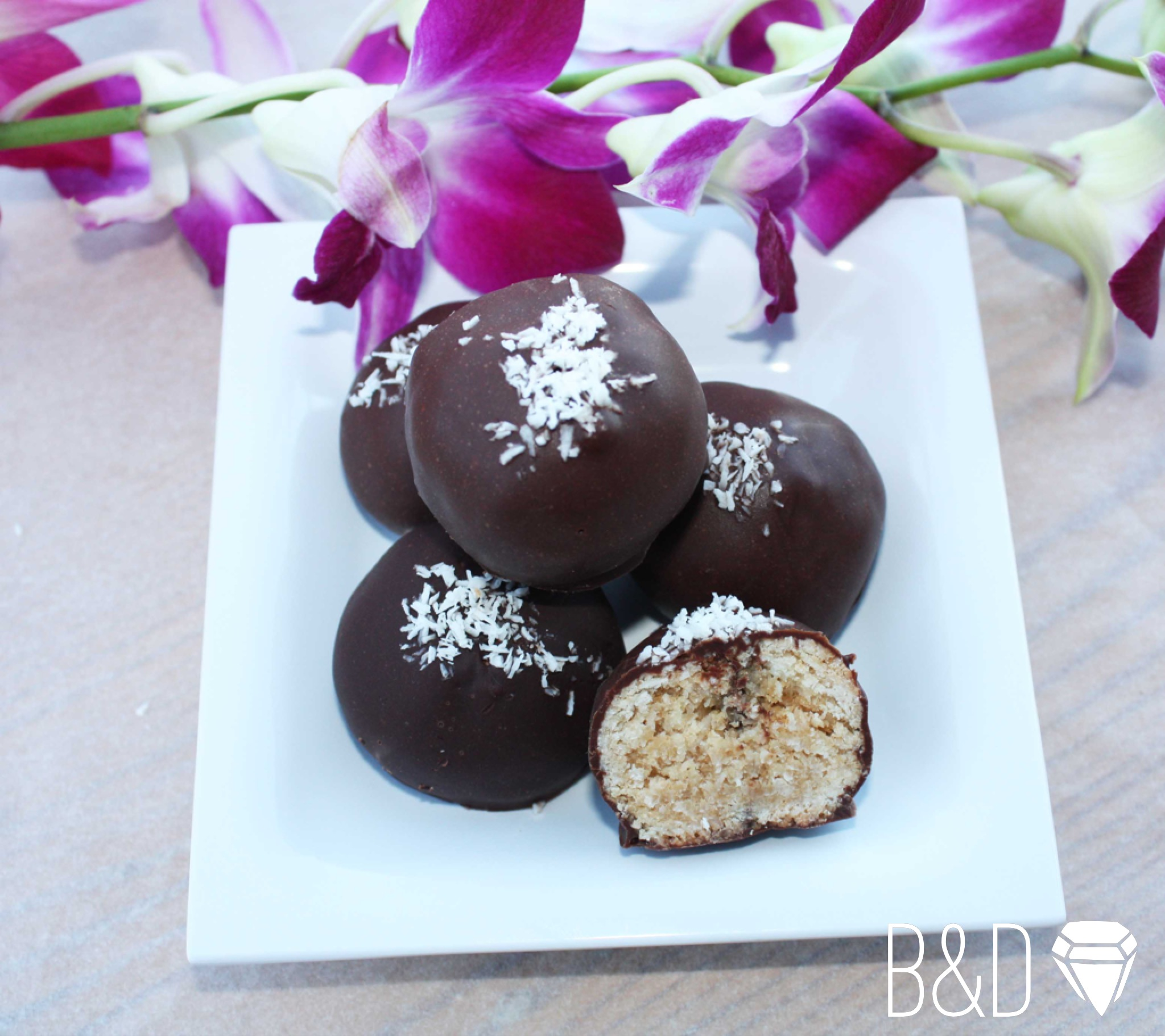 Dark chocolate covered Peanut butter-coconut balls (vegan)